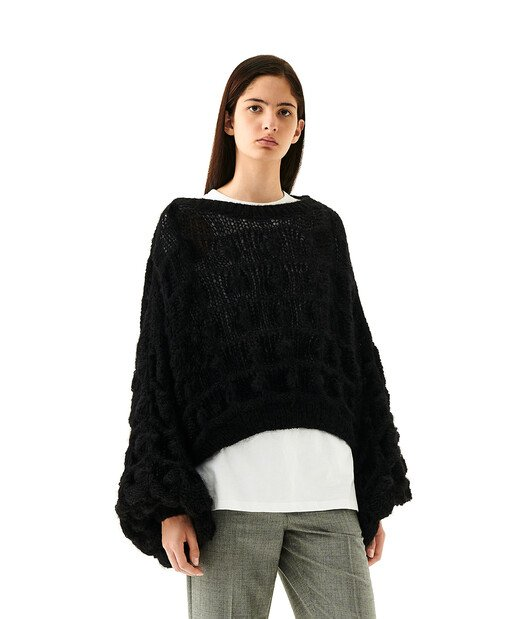 LOEWE Balloon Slv Cable Sweater Negro front