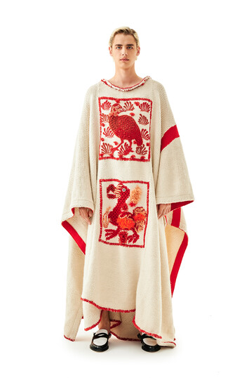 LOEWE Embroidered Knit Poncho Animals 白色/红色 front