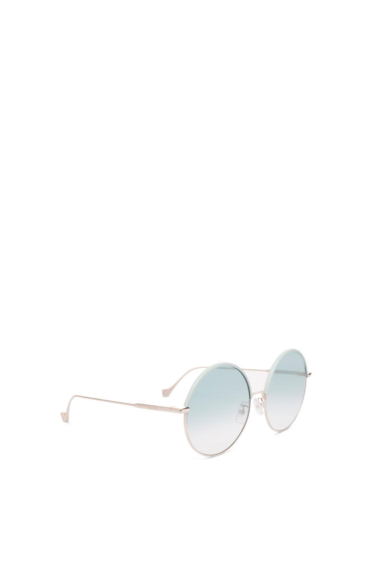 LOEWE Round Sunglasses in metal and calfskin Sky Blue/Gradient Turquoise pdp_rd