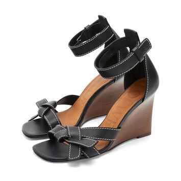 LOEWE Gate Wedge Sandal 80 Black front