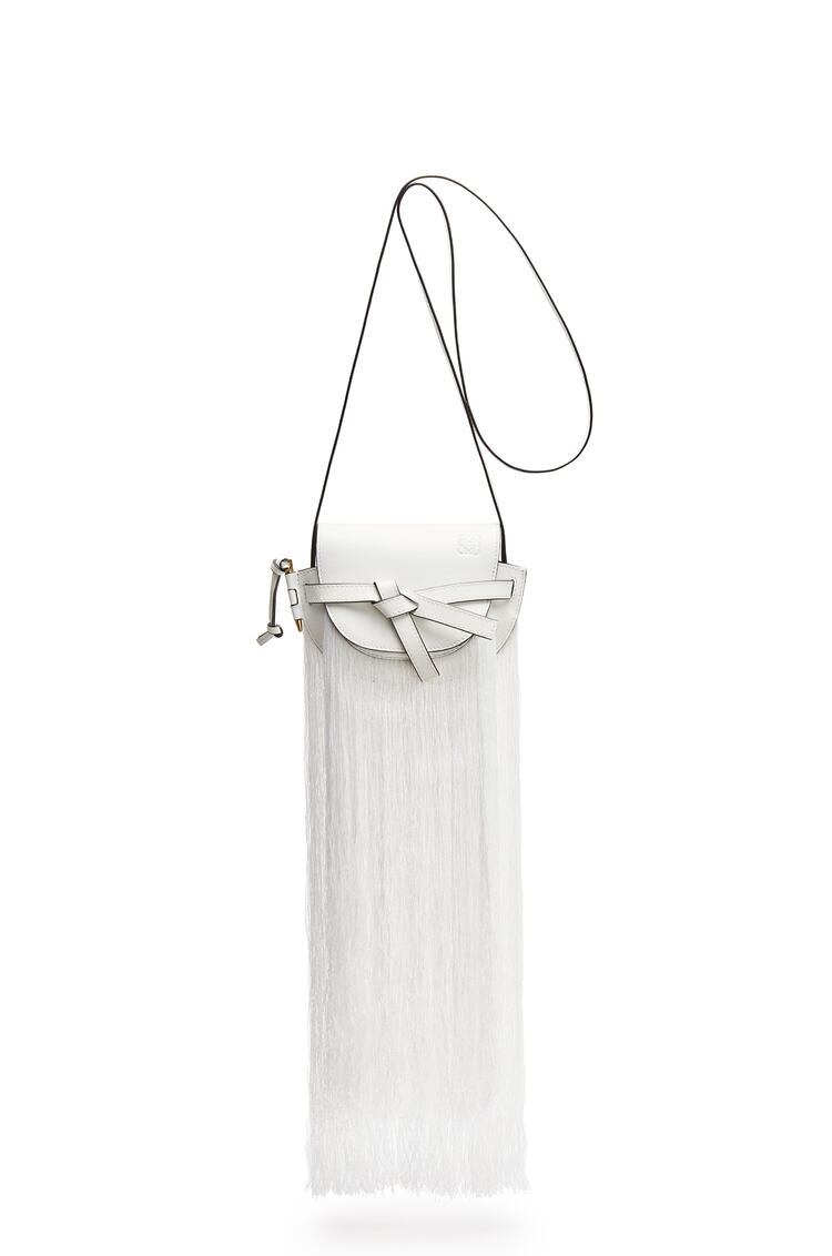 LOEWE Mini Gate Fringes Bag In Soft Calfskin White pdp_rd