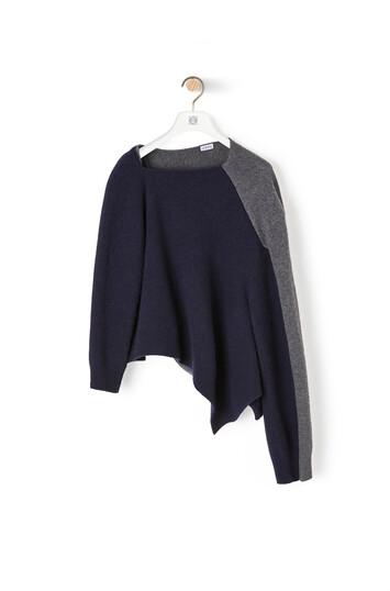 LOEWE Asymmetric Knit Sweater Navy Blue/Grey front
