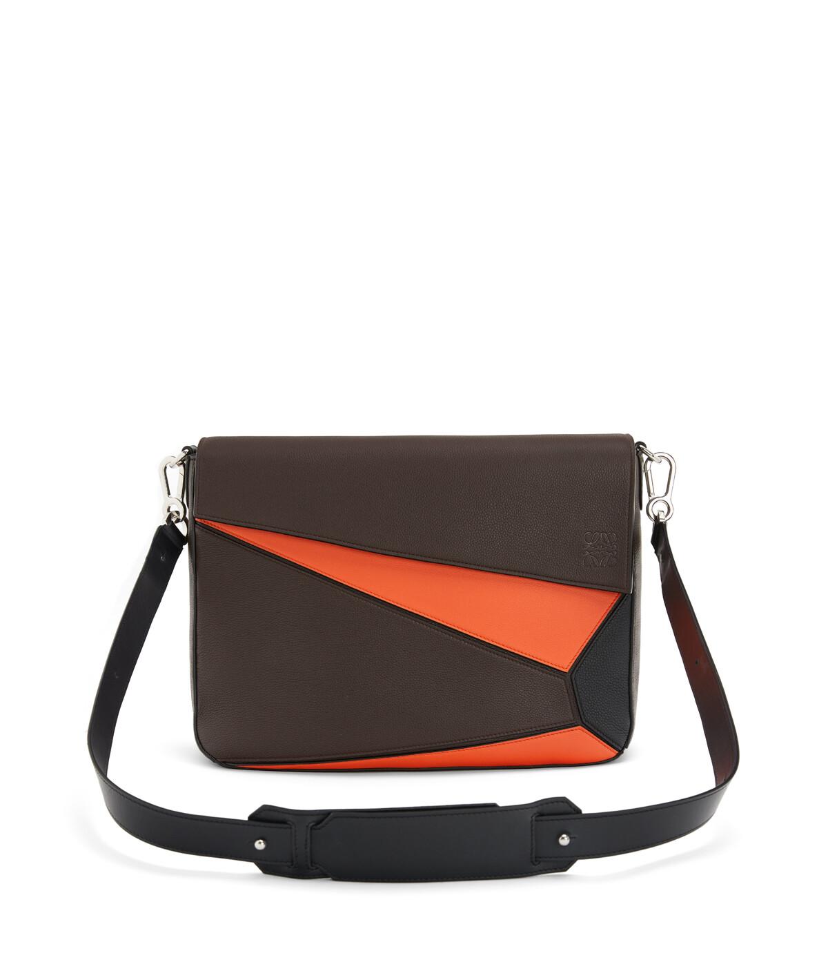 LOEWE Puzzle Messenger Bag Chocolate Brown/Orange front