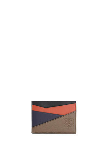 LOEWE Puzzle plain cardholder in classic calfskin Dark Moss/Pumpkin pdp_rd