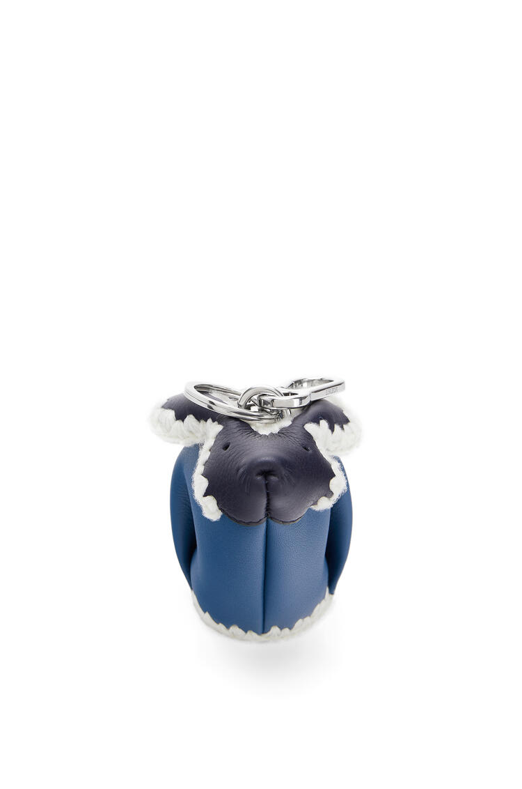 LOEWE Bunny charm in knit and calfskin Midnight Blue/Varsity Blue pdp_rd