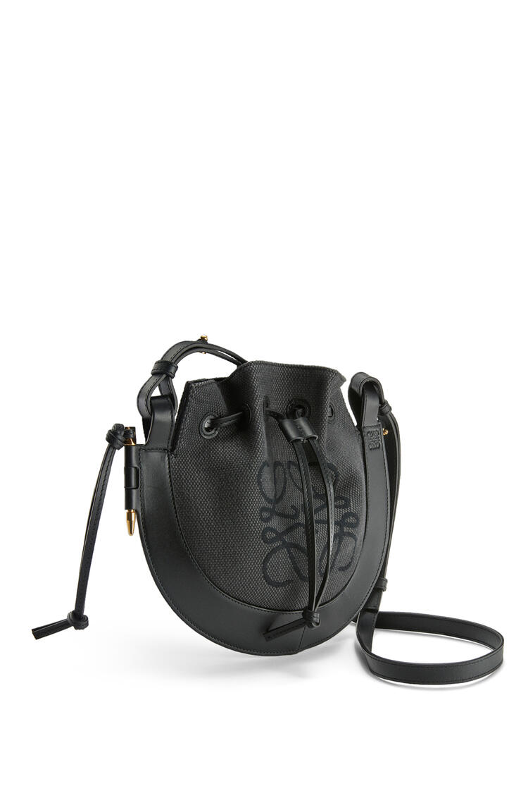 LOEWE Small Horseshoe Anagram bag in jacquard and calfskin Anthracite/Black pdp_rd