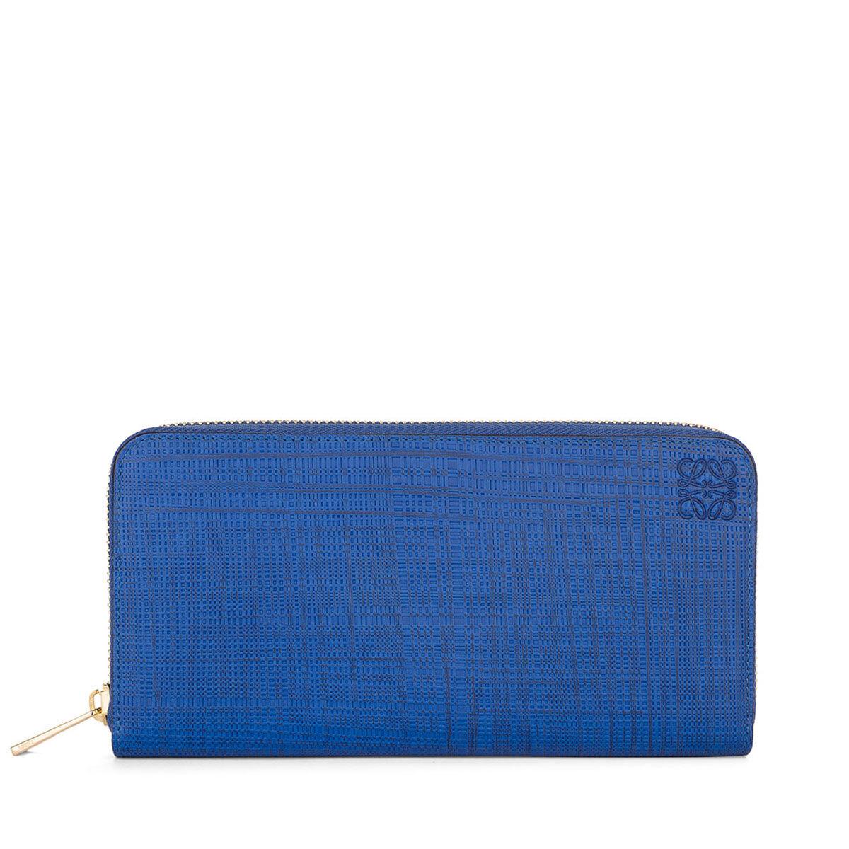 LOEWE Linen Zip Around Wallet Electric Blue front