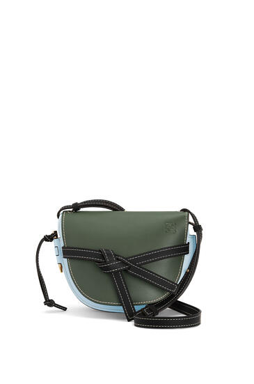 LOEWE Small Gate Bag In Soft Calfskin Vintage Khaki/Crystal Blue pdp_rd