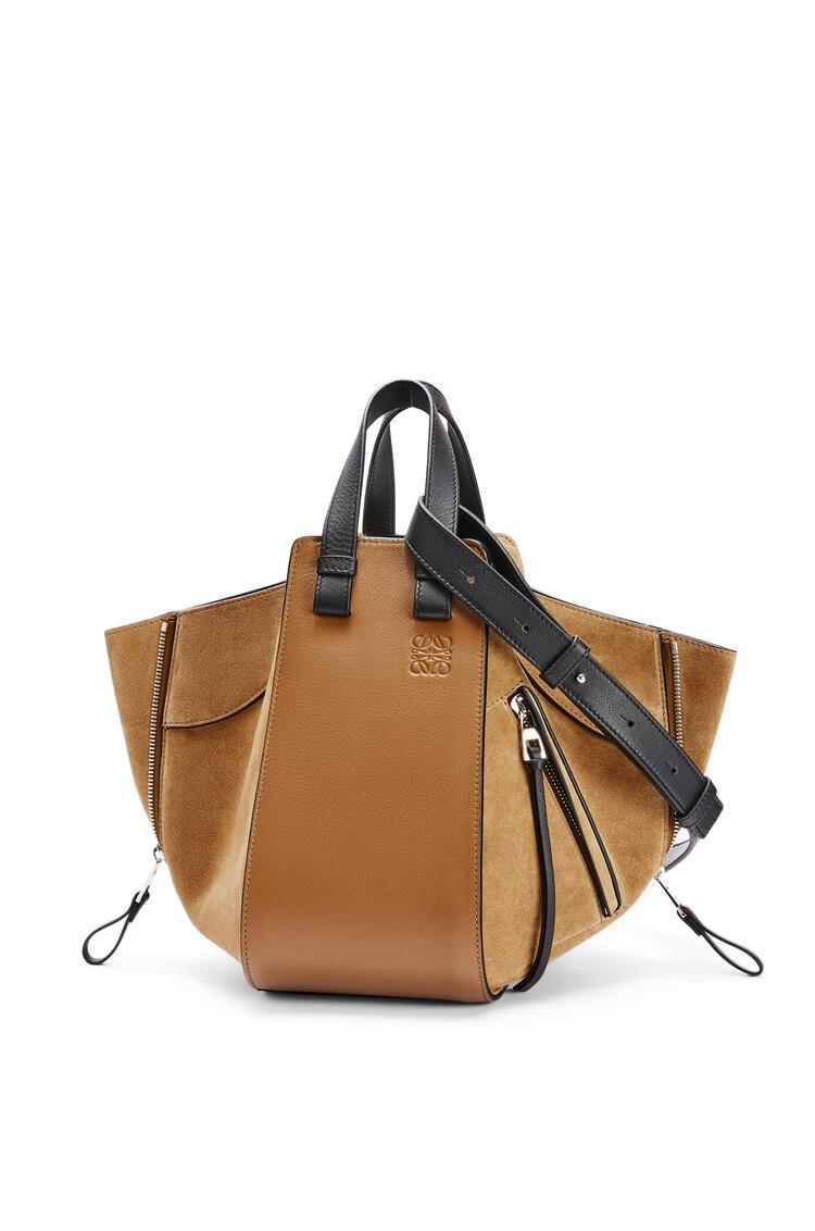 LOEWE Small Hammock bag in calfskin and suede Oak/Dark Gold pdp_rd