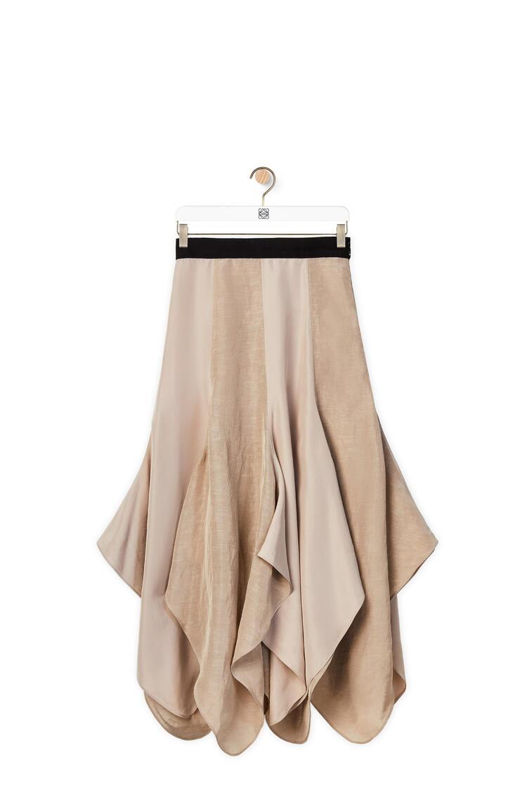 LOEWE Petal hem skirt in linen Black/Taupe pdp_rd
