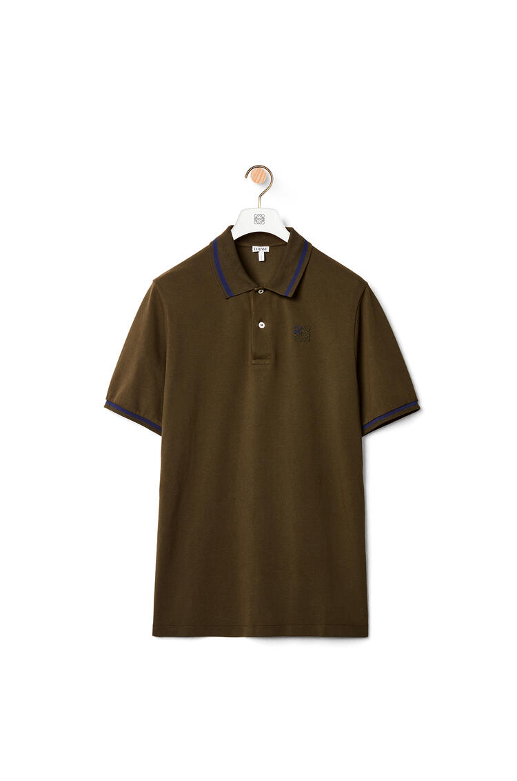 LOEWE Polo en algodón con anagrama bordado Verde Kaki pdp_rd
