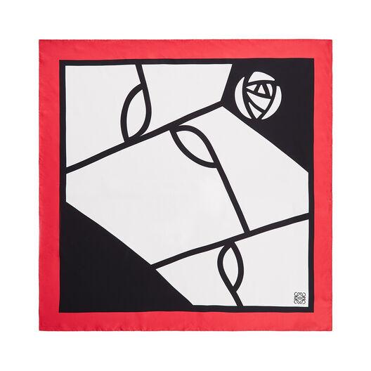 LOEWE 90X90 Scarf Roses Black/Red front