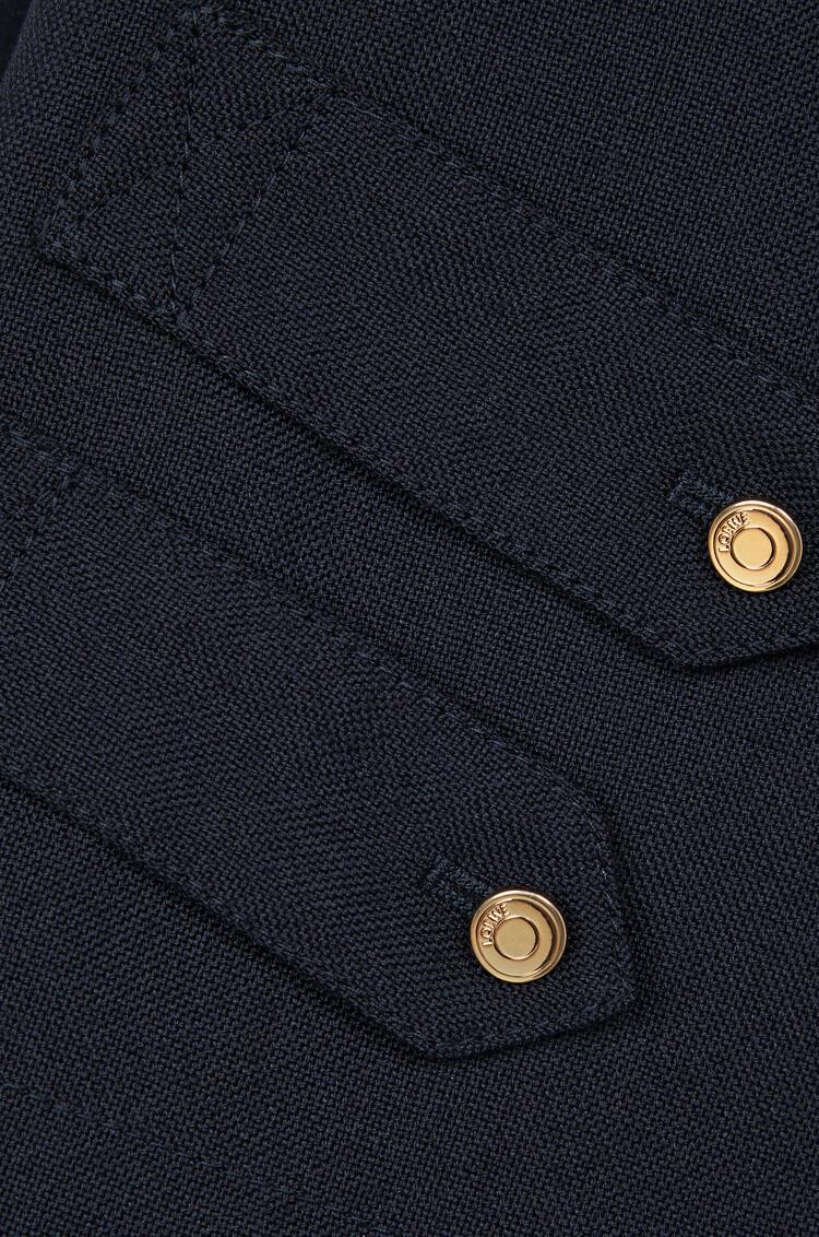 LOEWE Abrigo en cashmere de cuello alto y doble botonadura Marino pdp_rd