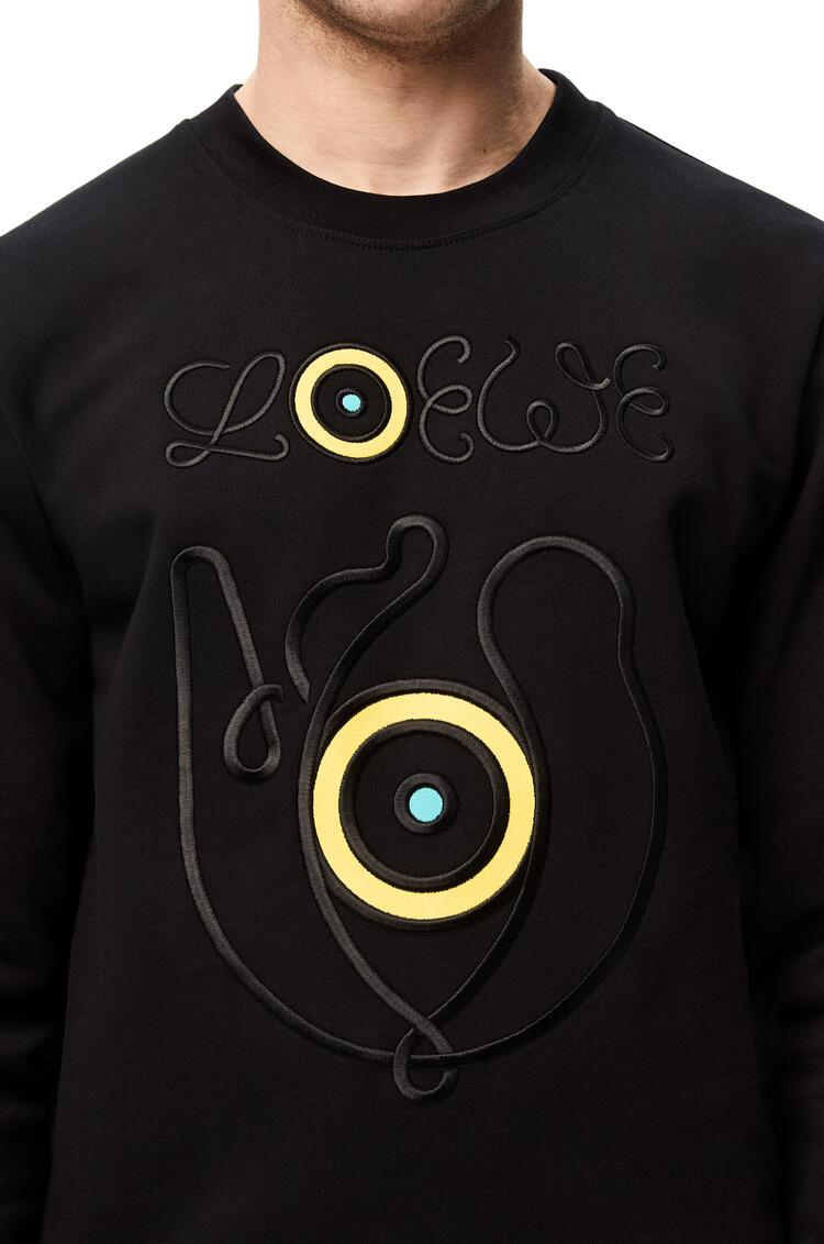 LOEWE Sudadera en algodón bordada Negro pdp_rd