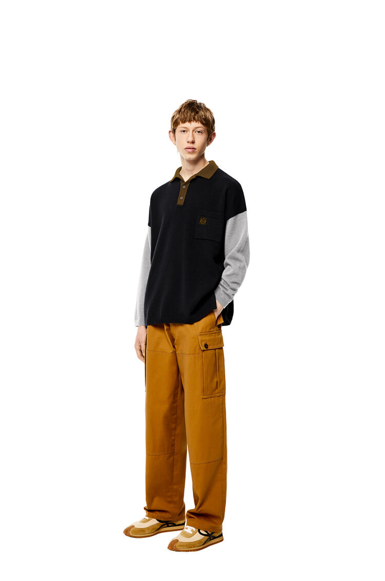 LOEWE 羊毛 Polo 领毛衣 黑色/灰色 pdp_rd