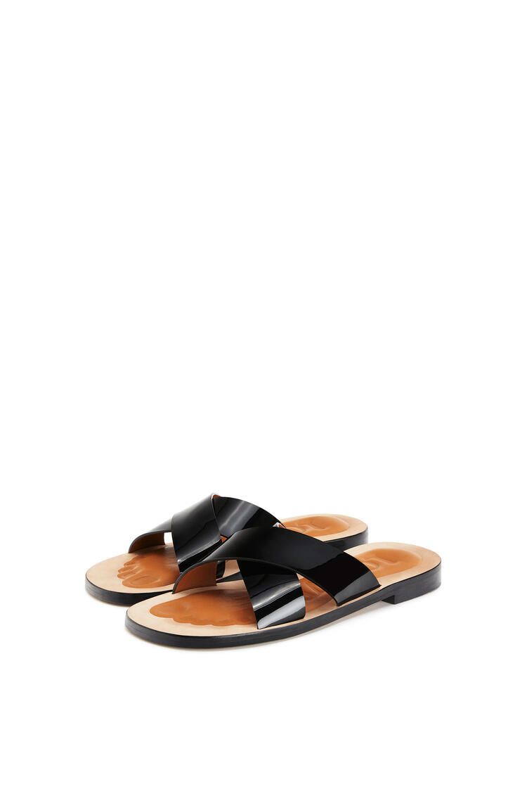 LOEWE Criss cross sandal in calfskin Black pdp_rd