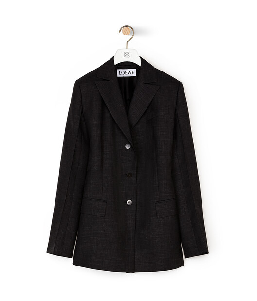 LOEWE 3Bt Peak Lapel Jacket Negro front