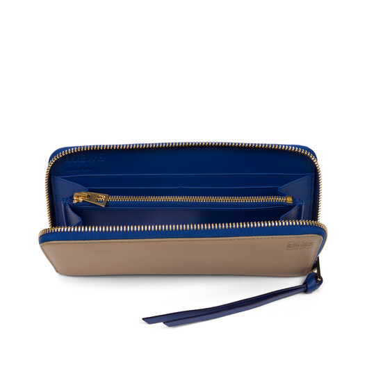 fac152e2a3ba LOEWE Zip Around Wallet Sand/Electric Blue front