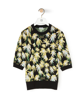 LOEWE Daisy Jacquard Cropped Sweater Black/Yellow front