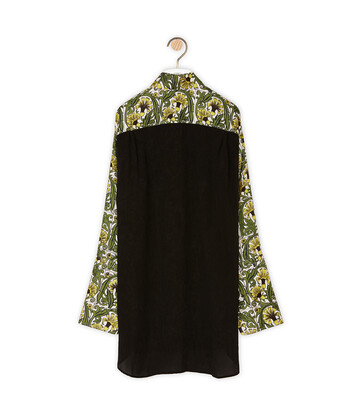 LOEWE Oversize Silk Print Shirt Flowers Yellow/Green front