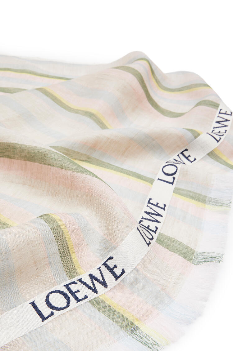 LOEWE 70 X 210 Cm Loewe Scarf In Striped Linen And Silk Multicolor/Soft Pink pdp_rd
