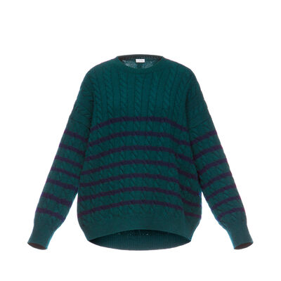LOEWE Stripe Cable Knit Sweater Green/Navy Blue front