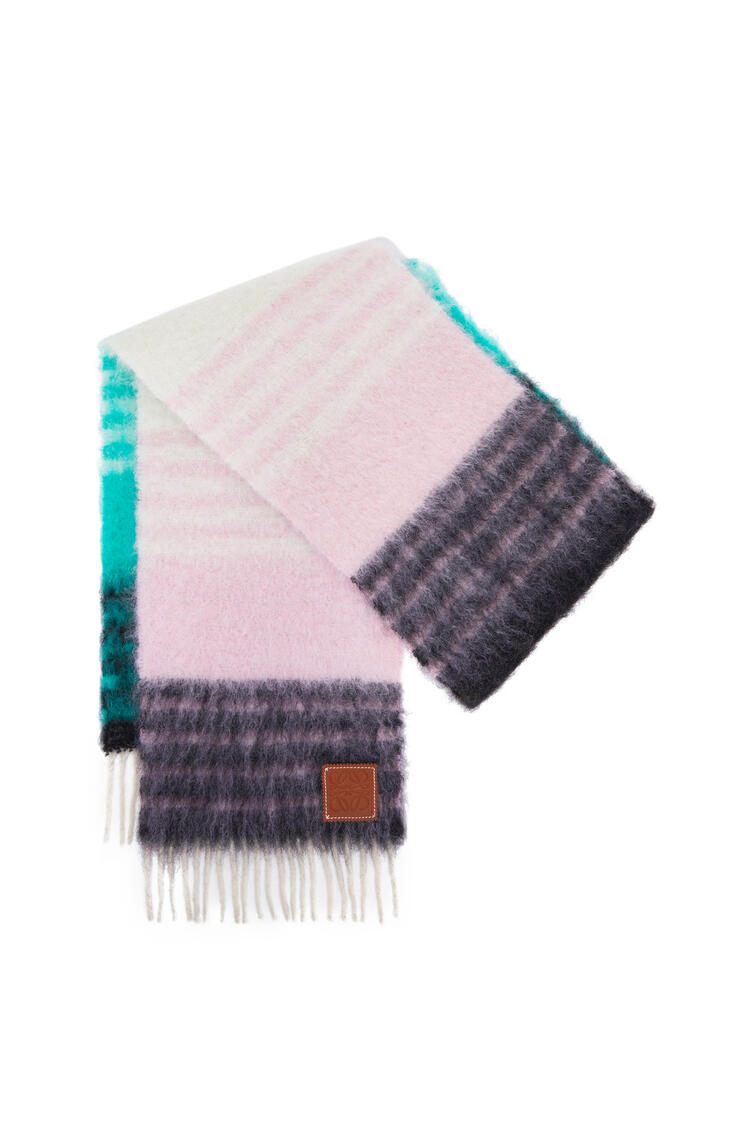 LOEWE 28 x 185 cm scarf in striped mohair Multicolor/Green pdp_rd
