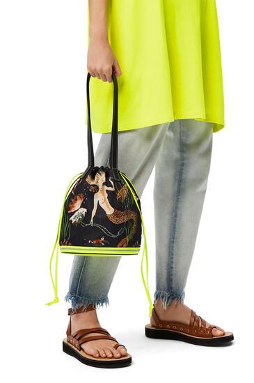 LOEWE Smiley Convertible Tote bag in nylon and calfskin White/Black pdp_rd