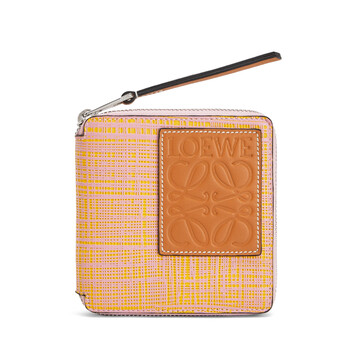 LOEWE Square Zip Wallet Yellow/Pink front
