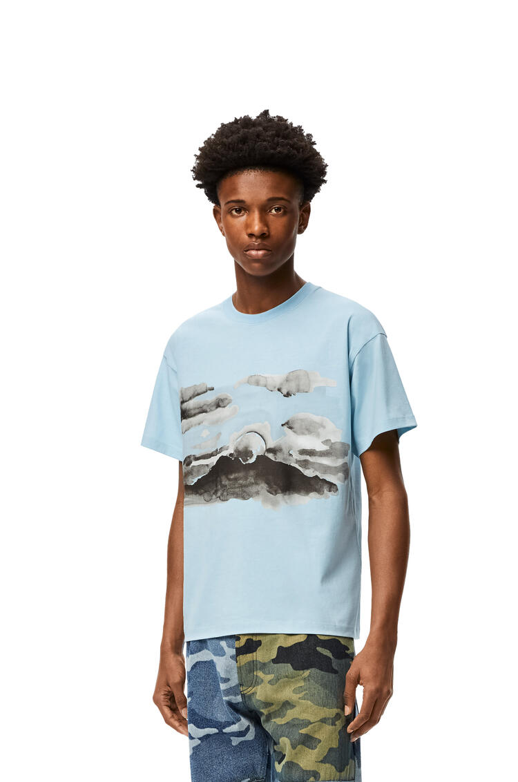 LOEWE Blue moon print T-shirt in cotton Sky Blue pdp_rd