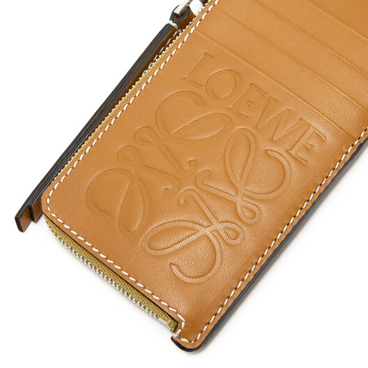 LOEWE Coin Cardholder Large Ochre/Taupe front