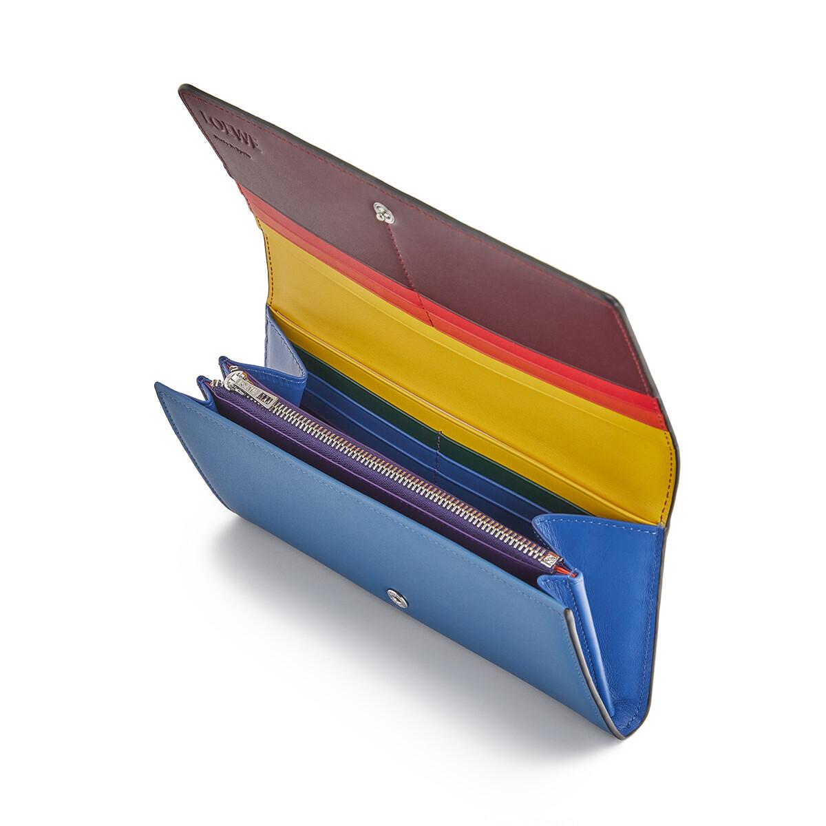 LOEWE レインボーコンチネンタルウォレット ブルー/マルチカラー front