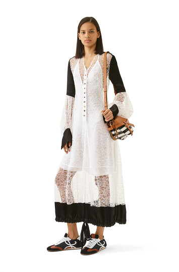 LOEWE Balloon Sleeve Lace Dress Blanco/Negro front
