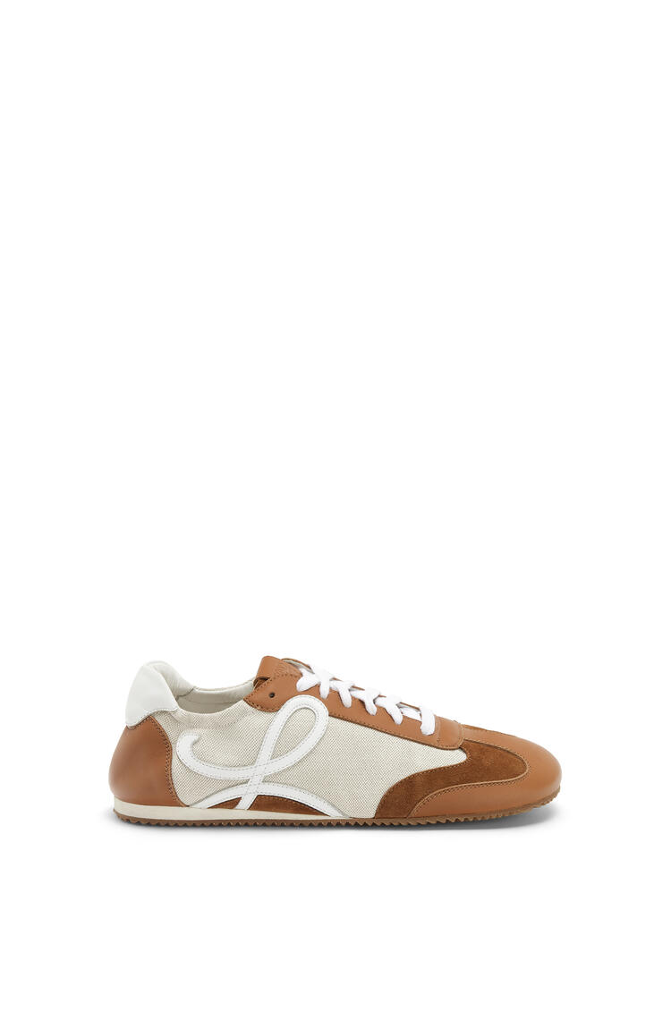 LOEWE Ballet runner in classic calfskin and linen Sand/Dark Brown pdp_rd
