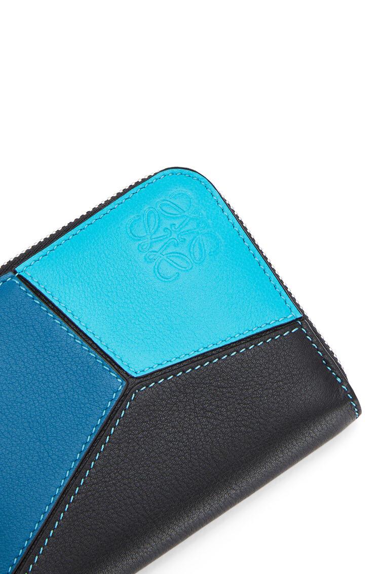 LOEWE 6 card Puzzle Zip wallet in classic calfskin Dark Lagoon/Black pdp_rd