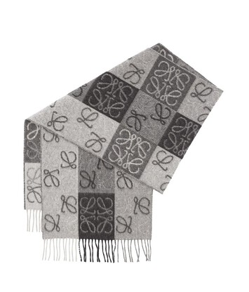 LOEWE 38X180 Scarf Anagram In Lines 黑色/白色 front