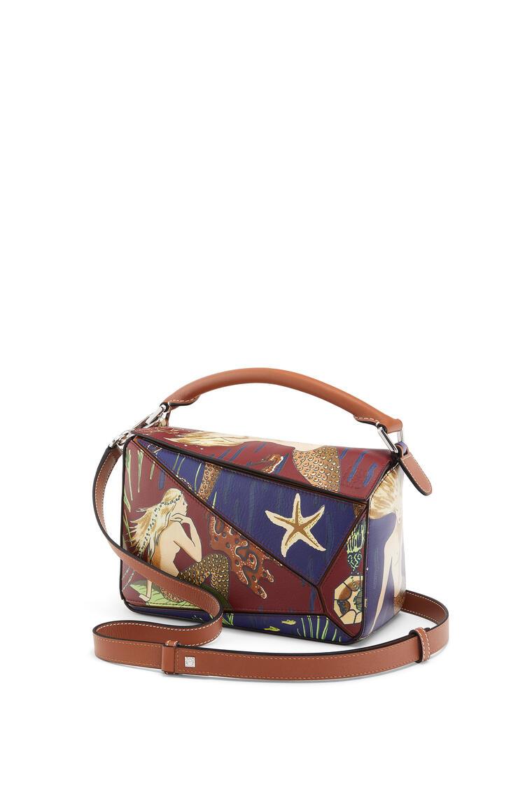 LOEWE Small Puzzle Bag In Mermaid Classic Calfskin Burgundy/Marine pdp_rd