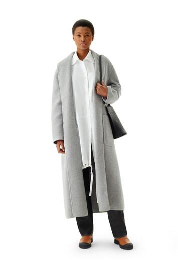 LOEWE Belted Coat Gris front