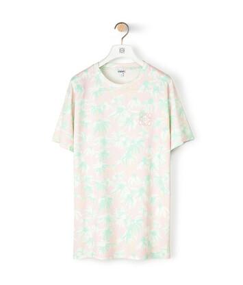 LOEWE Daisy Print T-Shirt Rosa/Verde Claro front