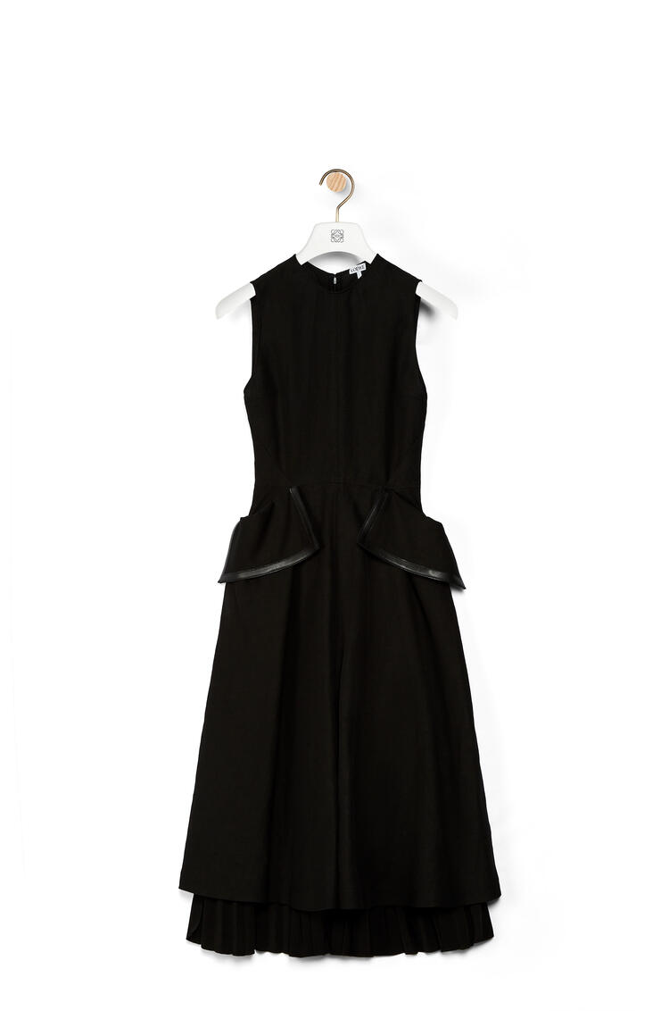 LOEWE Flap pocket midi dress in cotton and linen Black pdp_rd