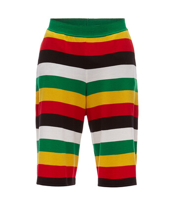 LOEWE Stripe Knit Shorts Verde/Amarillo front