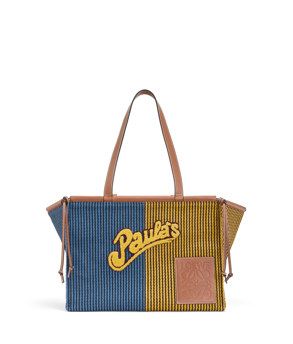 LOEWE Paula's Cushion Tote Stripes Large Blue/Yellow front
