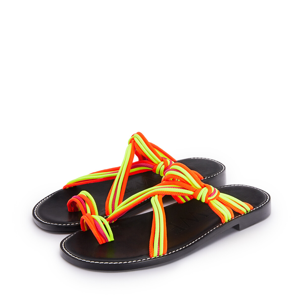 LOEWE Knotted Sandal In Calfskin And Cotton Multicolor/Neon Yellow front