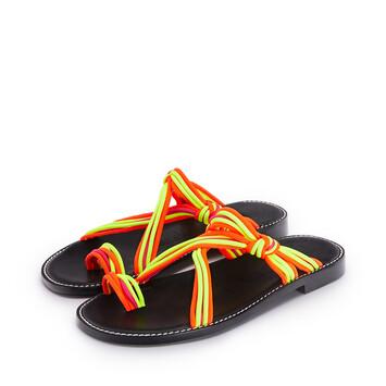 LOEWE Sandalia Con Nudos En Piel De Ternera Y Algodón Multicolor/Amarillo Neon front