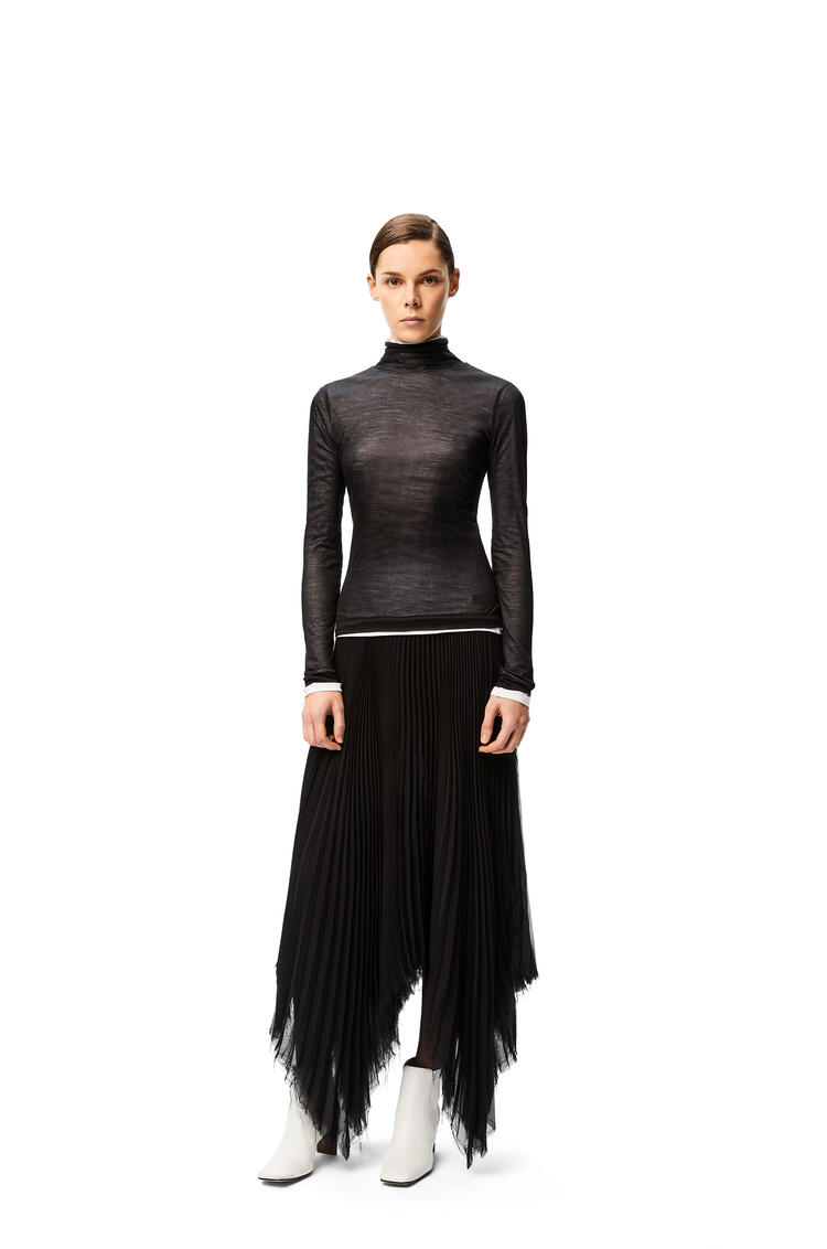 LOEWE High neck top  in silk and cotton Black/White pdp_rd