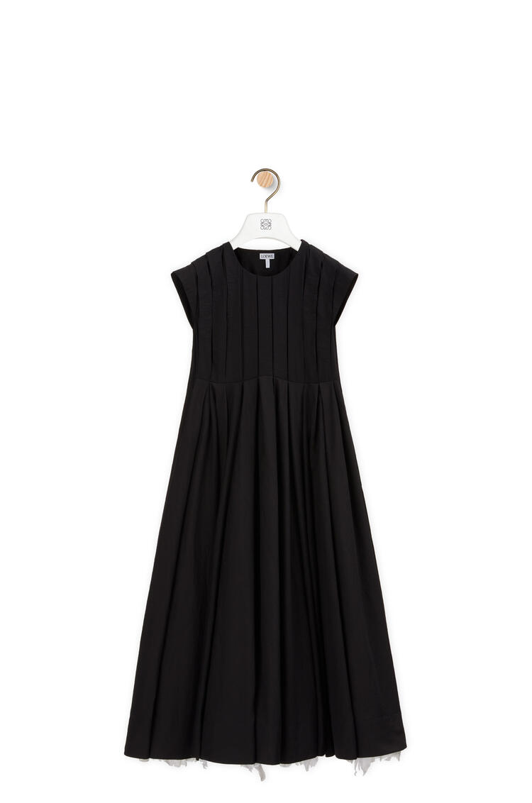 LOEWE Vestido midi plisado en algodón Negro pdp_rd