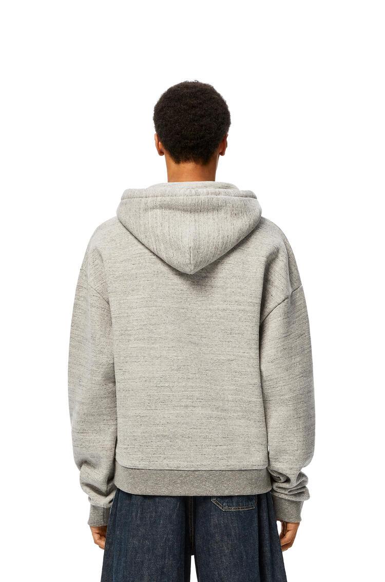LOEWE Anagram embroidered hoodie in cotton Grey Melange pdp_rd