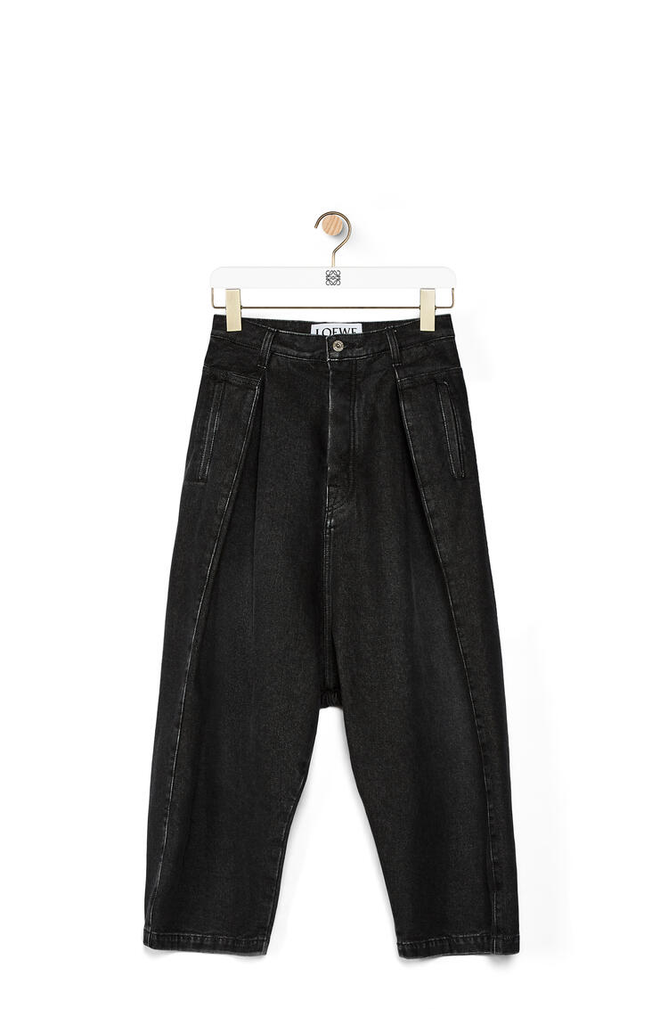 LOEWE Cropped oversize jeans in stone washed denim Black pdp_rd