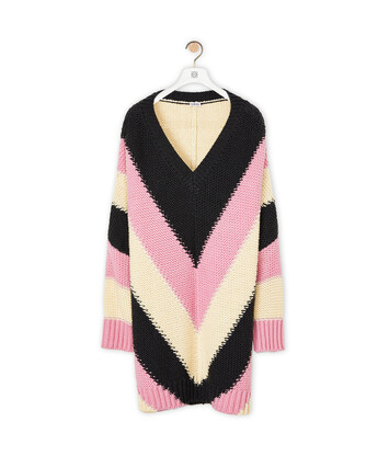 LOEWE Stripe Ov V Neck Sweater Pink/Grey front