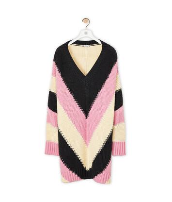 LOEWE Stripe Ov V Neck Sweater 粉色/灰色 front